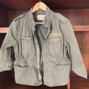 Zara crop military green jacket